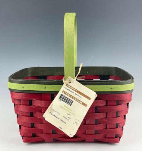 LONGABERGER STRAWBERRY SPRING BASKET EXCELLENT CONDITION WITH TAG!! D-2