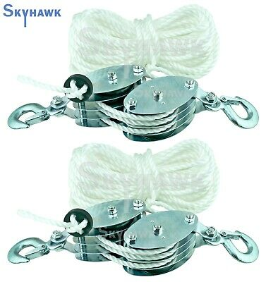 2 - 2 Ton Poly Rope Hoist Pulley Wheel Block And Tackle Puller Lift Tools Lifter