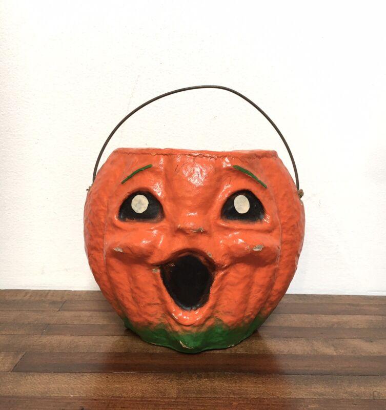 Vintage Halloween Paper Mache Jack O Lantern Pumpkin With Handle