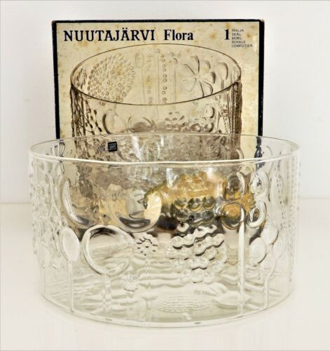 Arabia Finland 1970s Nuutajarvi Flora Glass Bowl 25 cm Wide Clear by Oiva Toikka