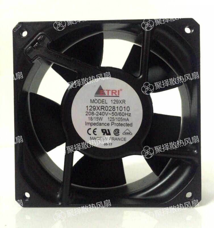ETRI 129XR0281010 equipment fan 208-240V 18/15W 125/105mA 120*120*38MM