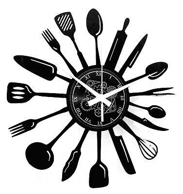 Reloj En Vinilo de Pared Idea de Regalo Cuchillo Cuchara Cubiertos Cocina...