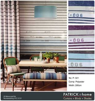Stripe Pattern Navy feeling with numbers Blockout Curtains (P021)