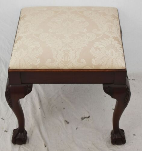 Salem Square Chippendale Mahogany Ball & Claw Footstool Bench Damask Fabric