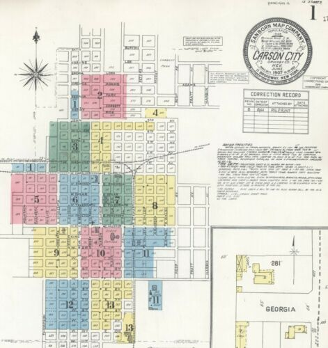 Carson City, Nevada~Sanborn Map© sheets~34 maps made in 1885 to 1941 in color