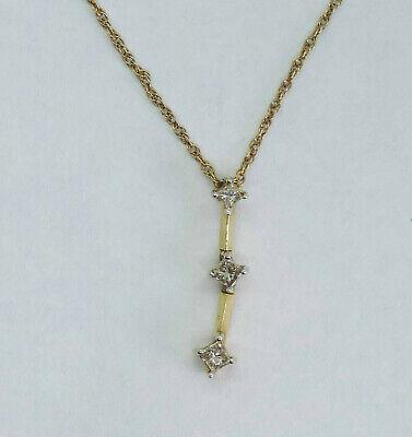 Ladies 3 Graduating Princess Diamond Pendant w/ Flexible Bar - 14k Yellow Gold