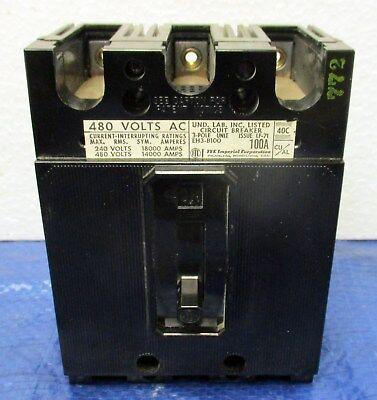 Ite 100 Amp (ITE 100 Amp 480 Volt 3 Pole Breaker ~ Cat. No. EH3-B100 EH3B100 Nice!!!)