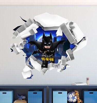 The Lego Batman Movie 3D Broken Wall Decal Cracked Hole Vinyl Home Decor CG776 - Lego Decor