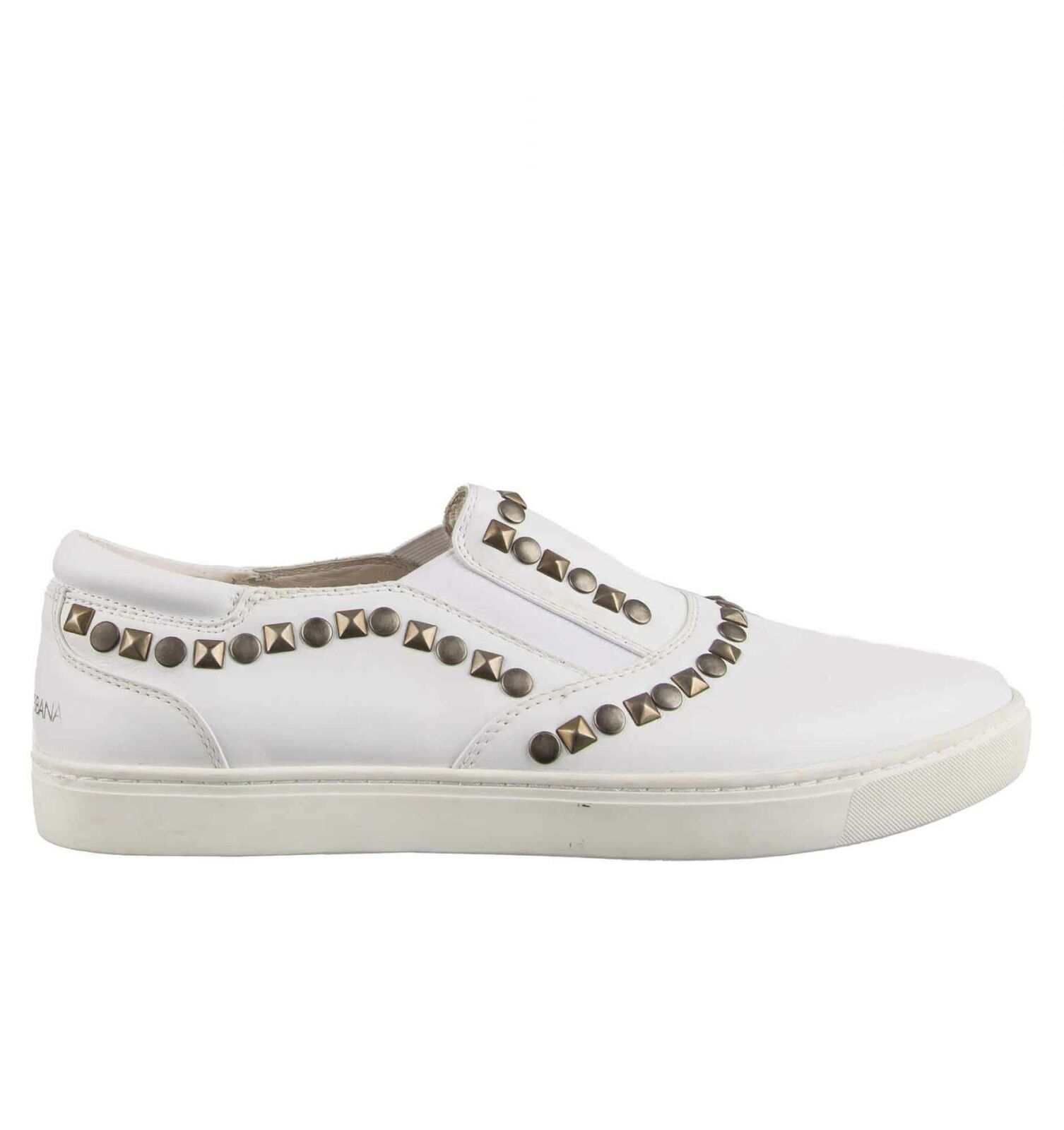 Dolce & gabbana slip-on baskets chaussures / londres rivets logo blanc 08562