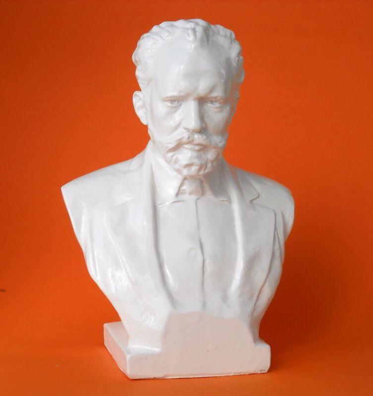 Original Soviet Russian  Bust of Composer Pyotr Tchaikovsky 1970s Made in USSR