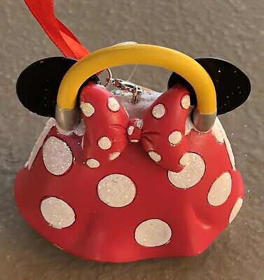 Disney Parks Minnie Mouse Handbag Ornament Christmas Artist Signed - With Tags