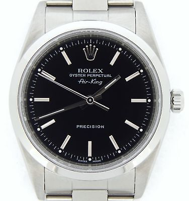 Rolex Air King Precision Men Stainless Steel Watch Black Dial Oyster Band 14000M