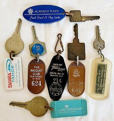 Lot of 7 Vintage Hotel Room Keys & Fobs Alaska Acapulco Palm Springs Tahoe