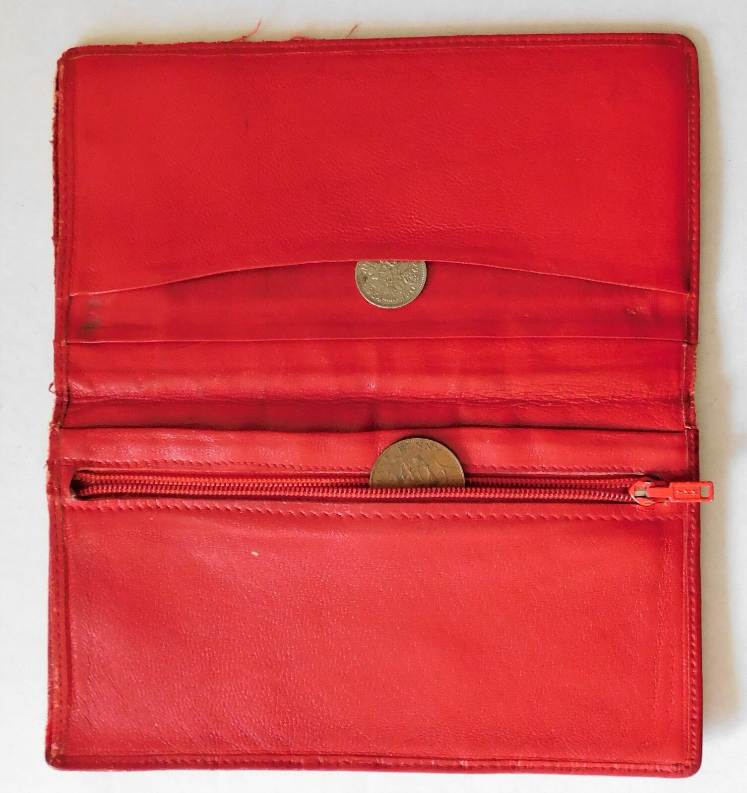Tatty old red wallet with zipped coin purse section vintage 1950s 1960s 1970s