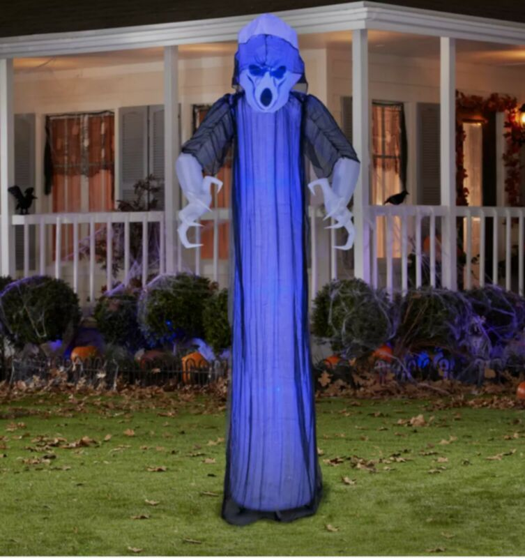Gemmy Airblow Inflatable Prelit Purple Standing Ghost Halloween Decoration 8ft