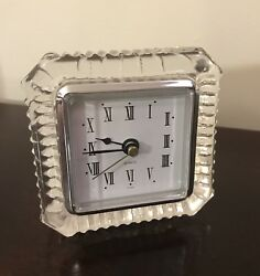 Vintage Crystal Clear Quartz Clock 24% Lead Crystal Taiwan Square Desk Rare