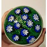 MURANO Ferro & Lazzarini ART GLASS Paperweight w/Flowers