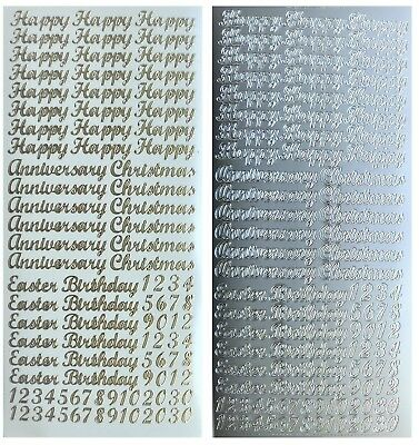 Happy Birthday Peel - HAPPY BIRTHDAY CHRISTMAS ANNIVERSARY EASTER Peel Off Stickers Gold or Silver