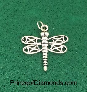 Sterling silver dragonfly pendant charm