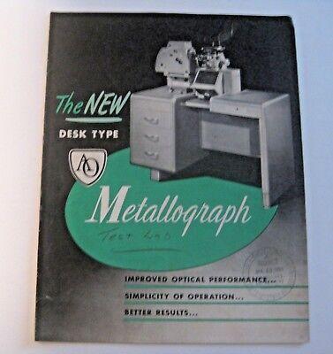 Vintage 1950 American Optical Desk Type Metallograph Industrial Manual