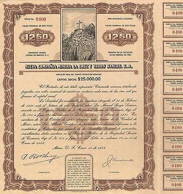 Mexico La Cruz Y Todos Santos Mining Bond Stock Certificate
