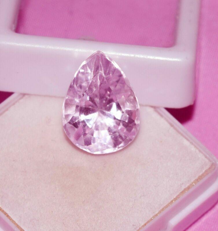 9.55 Cts Fascinating Natural Pink Kunzite Pear Shape Certified Gemstone