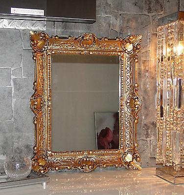 Espejo de Pared Dorado en Antiguo Barroco Baño Pasillo Vanidad 56x46