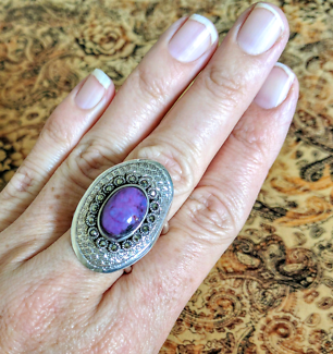 Purple Turquoise & Marcasite Ring, Size 8 US,Silver, Rustic, NEW