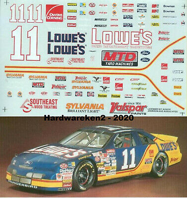 NASCAR DECAL #11 LOWE'S 1995 FORD THUNDERBIRD BRETT BODINE 1/24