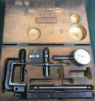 Vintage Starrett No.196 Back-plunger Dial Indicator Kit .001 Grads0-100 Dial