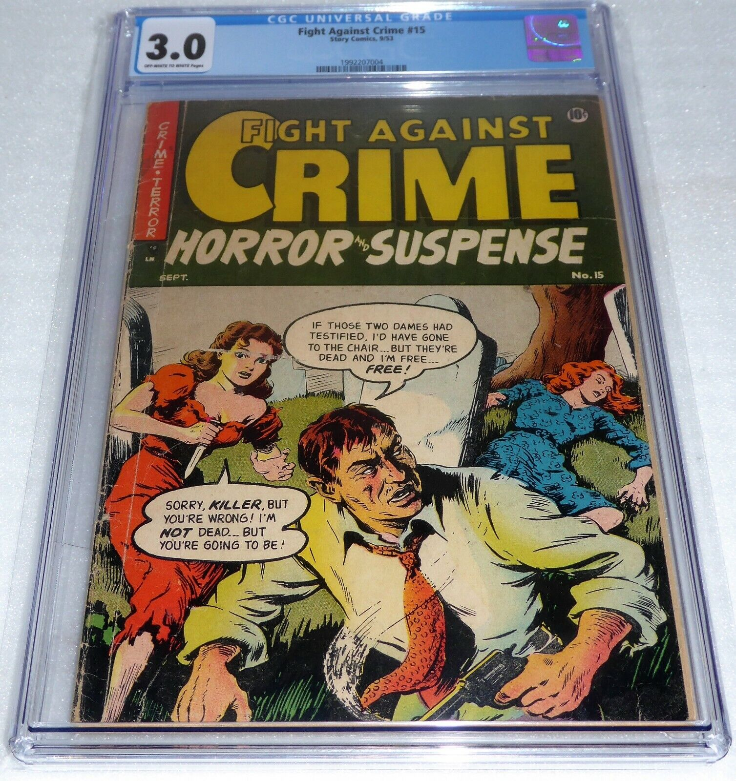 Fight Against Crime #15 CGC 3.0 Pre-Code Horror Suspense Crime Story Comics 9/53