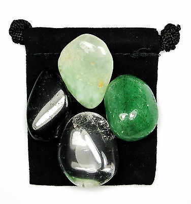 Devic Energy Tumbled Crystal Healing Set   4 Stones  Pouch   Description Card