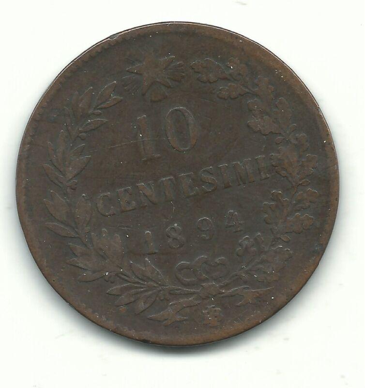 A VERY NICE VINTAGE 1894 BI 10 CENTESIMI ITALY COIN-JUL139