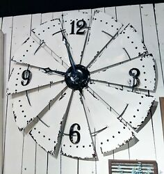 Large Rustic White Enamel Metal Windmill Wall Clock Farmhouse Country Home Decor