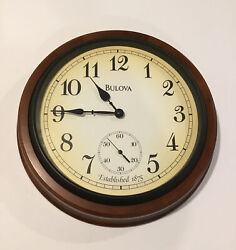 """Large Bulova 16"""" Oak Wood Wall Clock Working With Second Hand"""