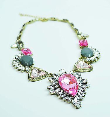 Luxurious Rhinestone Floral Design Gold-Tone Chainlink Statement Choker Necklace ()