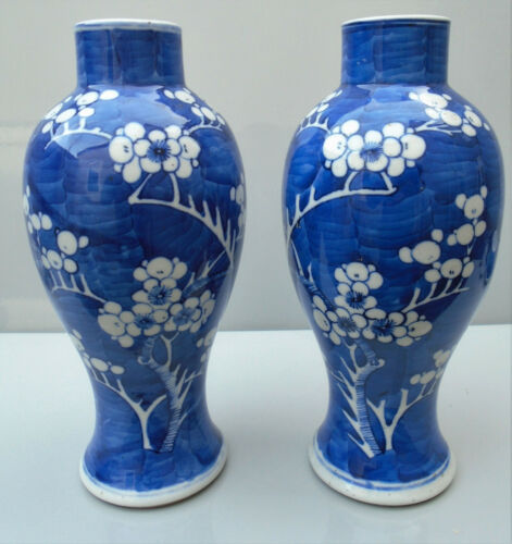 Pair Chinese blue and white porcelain vases painted prunus Qing
