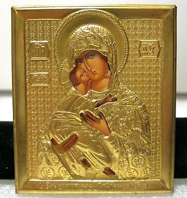 Vintage Russian Religious Icon Mary and Jesus