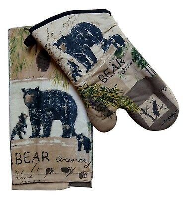 (Wilderness Trail BEAR COUNTRY Kitchen Towel & Oven Mitt Set, by Kay Dee Designs)