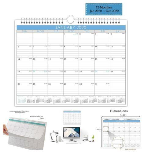 2020 Monthly Wall Calendar with Wire Bound Hanger Desktop Office Calendar