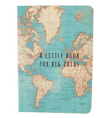 Sass & Belle Vintage World Map Little Book for Big Ideas Pocket Notebook Travel