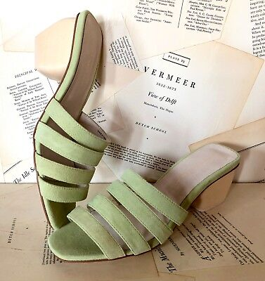 Anthropologie Sandal Mule Strappy Heel green Suede Lime Green 38/8 NIB