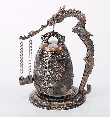 "5"" Brass Chinese Feng Shui Dragon Standing Bell Fortune Good Luck Home Decor"