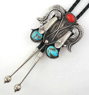 Navajo M. Vandever Extra Large Sterling Silver Squash Blossom Turquoise Bolo Tie