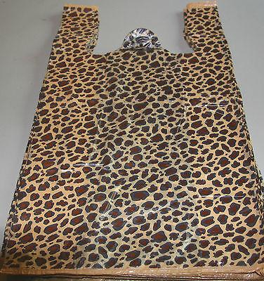 25 Leopard Print Design Plastic T-shirt Retail Shopping Bags Handles 11.5x6x21