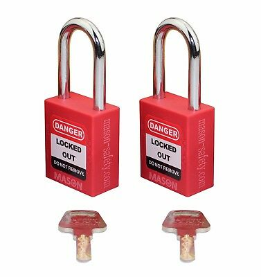 Mason Lockout Tagout 2 Pack Keyed Alike Safety Lockout Padlock Red