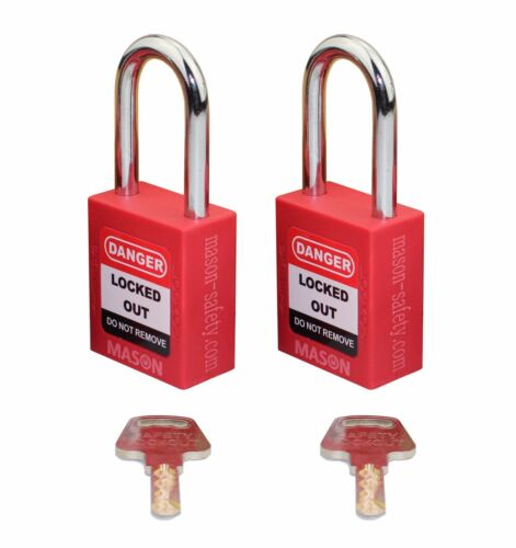 Mason Lockout Tagout 2 PACK KEYED ALIKE Safety Lockout Padlock, Red