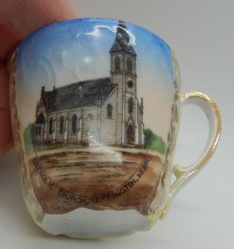 Hartington, NEBR Catholic Church Souvenir Small Cup & Saucer Circa 1915