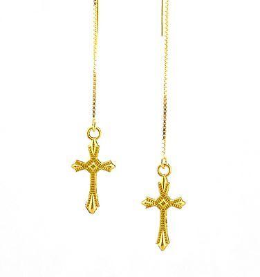 (*IAJ* 14k GOLD VERMEIL Ear Threads Threader Earrings w/ GOLD gp CROSS)