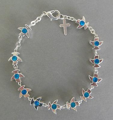 Rosenkranz Armband Metall Friedenstaube blaue Ornamente, Schmuck,  Auto LA 2 Autos Armbänder